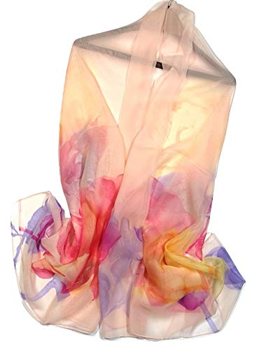 Shanlin Super Large Silk Feel Flower Floral Scarves for Women (Roses-Apricot)