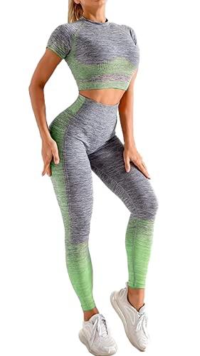 KMISUN Women 2 Piece Workout Outfits Sports Bra Seamless Leggings Yoga Gym Activewear Set