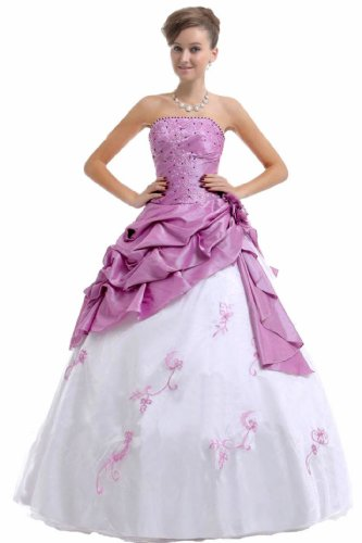 FairOnly M37 Strapless Prom Dress Stock (M, Lilac & White)