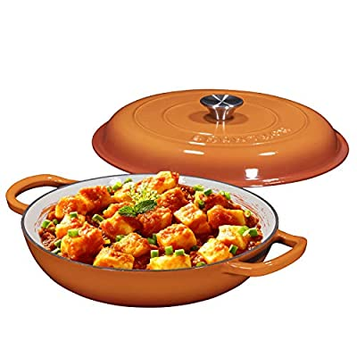 Enameled Cast Iron Casserole Braiser - Pan with Cover, 3.8-Quart, Pumpkin Spice