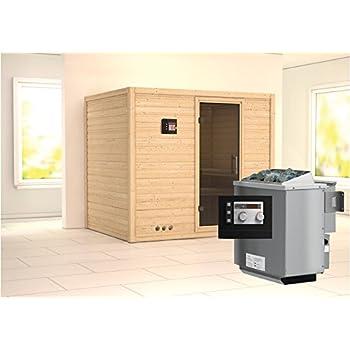 3,6 kW-Bioofen Karibu Sauna Plug /& Play inkl Lilja mit Dachkranz