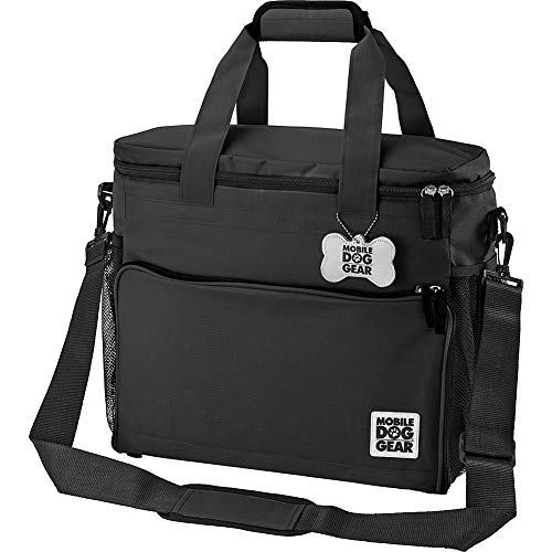 Overland Dog Gear Dog Travel Bag - Week Away Tote For Med And Large Dogs - Includes Bag, 2 Lined Food Carriers, Placemat, and 2 Collapsible Bowls (Black) Medium/Large Black
