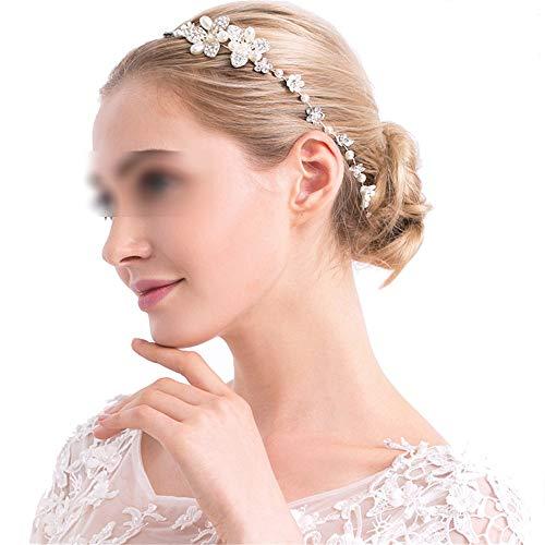 Señoras de las mujeres Hecho a mano nupcial diadema corona Rhinestone Faux perlas flores tocado tocado…