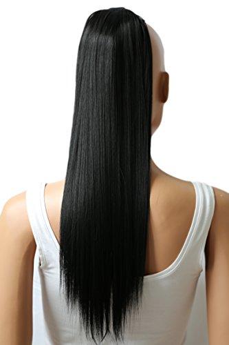 PRETTYSHOP 60cm Haarteil Zopf Pferdeschwanz Haarverlängerung Glatt Schwarzbraun HC13