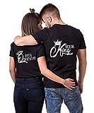 King Queen Pärche Shirts Set für Paar Partner Look T-Shirt Velentienstag Geschenk Tops Paare Baumwolle mit Aufdruck 1 Stücke (M,Schwarz-1-king)
