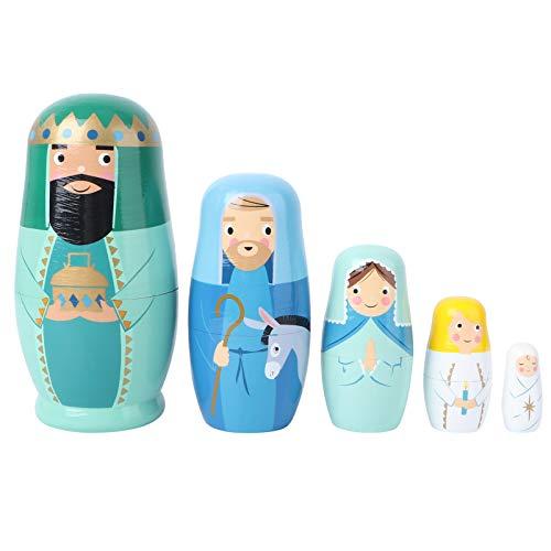 TOYANDONA 5 Stücke Matroschka Puppen Holz Jesus König Engel Figur Matrjoschka Dekofigur Russische Holzfiguren Tischdeko für Kinder Weihnachten Geschenke Mitgebsel Spielzeug