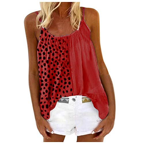 Best Bargain Dosoop Women Strappy Tank Tops Plus Size,Oversized Leopard Print Patchwork Summer Casua...