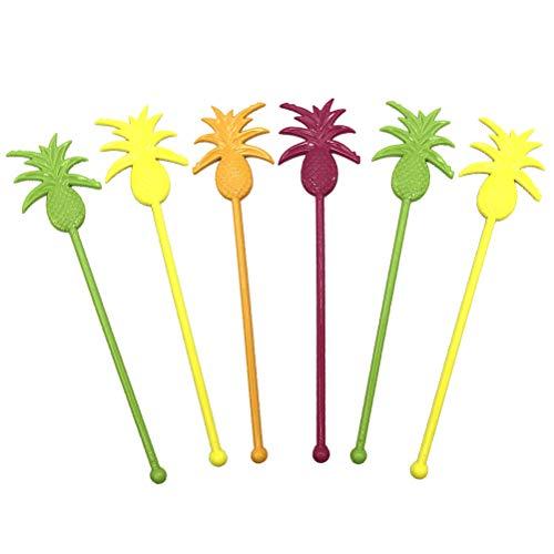 Amosfun 6 stks Swizzle Sticks drinken roerder ananas vorm schattige stokken koffie roerders herbruikbare roerstaaf voor warme dranken sap partij benodigdheden