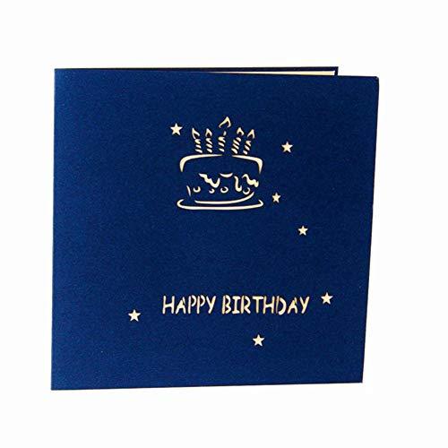 XdiseD9Xsmao 3D-wenskaart, felicitatiekaart, verjaardag, verjaardag, uitnodiging, cake, kaars, cadeau Blauw
