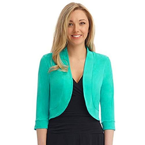 Xmiral Anzug Mantel Damen Einfarbig Kurz Kragenlos Blazer Mini Büro Arbeits Jacke Winter Strickjacken Steppjacke Langarm Übergröße Sweatjacke(Grün,XL)