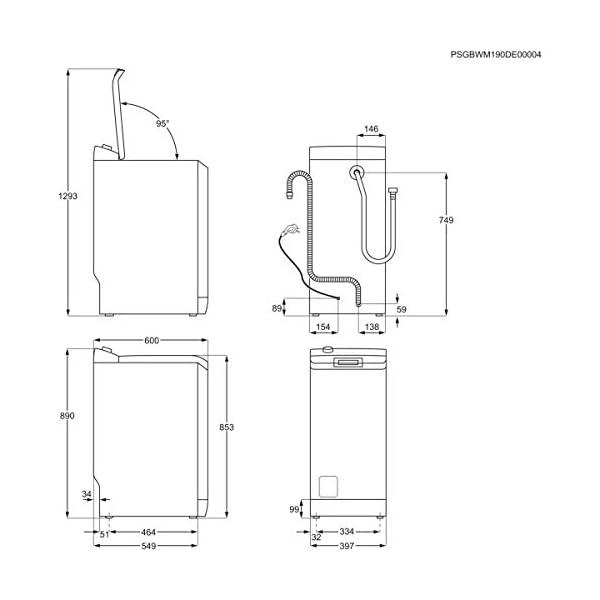 AEG L6TBK621 Lavadora de Libre Instalación, Carga Superior, 6 Kg / 1200 rpm, 14 Programas, Programa Rápido 20 min…