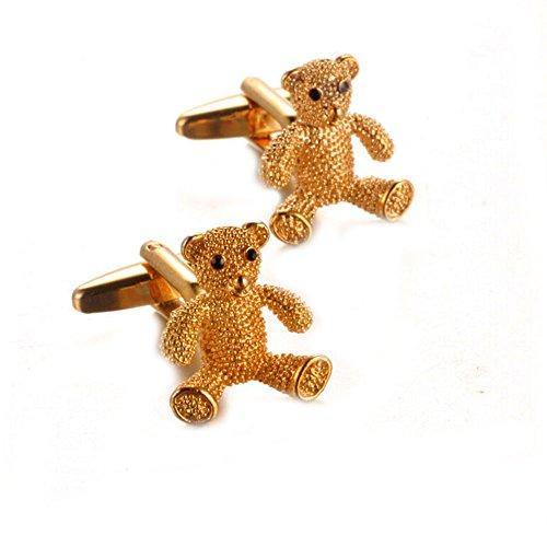 Gudeke Golden Bear Français pour homme Chemises Boutons de manchette avec un sac cadeau