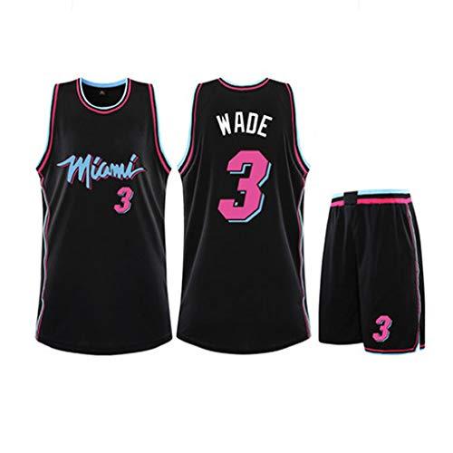 XSJY Jersey Conjunto De Baloncesto De Los Hombres - NBA Miami Heat Dwyane Wade # 3 Adultos Unisex Niños Transpirable Baloncesto Ropa Deportiva Set,Negro,3XL:175~180CM