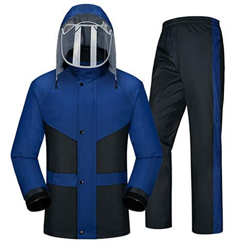 Ropa impermeable- Traje De Lluvia Para Hombres Ropa Impermeable (Chaqueta Para La Lluvia Y Pantalones De Lluvia Ajustados) Adultos Trabajo En El Exterior Moto Golf Pesca ( Color : Blue , Size : M )