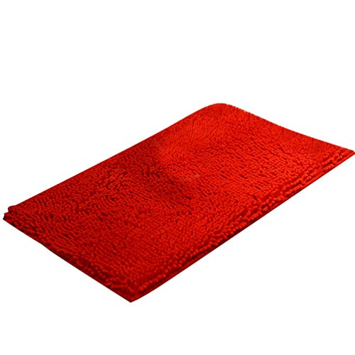 Baijiaye Alfombra de Baño Antideslizante Absorbente Suaves Alfombrilla Chenilla para Bano Cocina Rojo