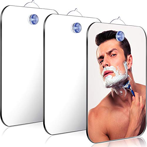 Jetec 3 Pieces Anti-Fog Shower Mirror Fogless Bathroom Handheld Mirror for Men and Women Unbreakable Portable Traveling Shaving Mirror Fog-Free Travel Mirror, 6.69 x 5.11 Inch