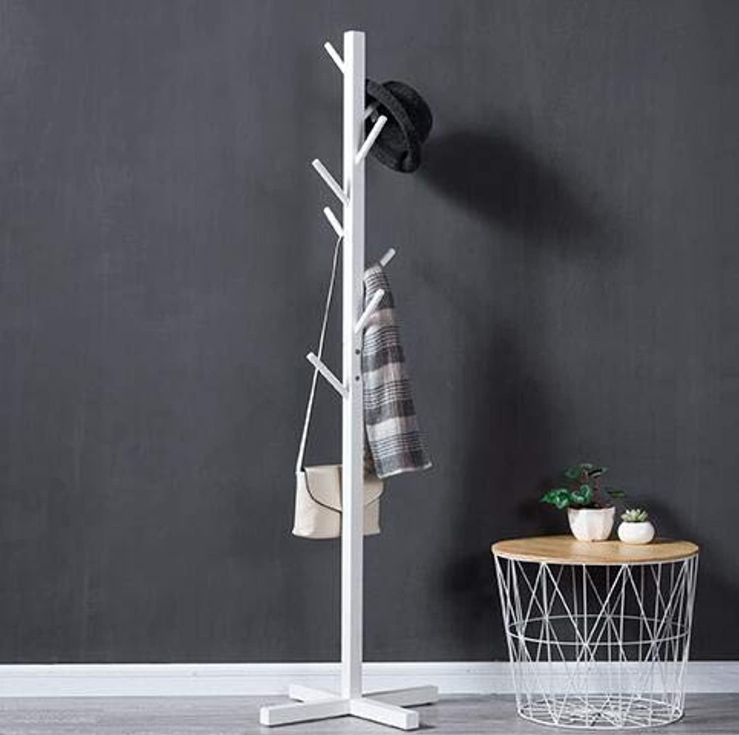 Wooden Coat Stand Tree Twig Hat and Coat Rack for Entryway Hallway Bedroom Closet Wardrobe 8 Hooks 175CM Solid Wood Cross Base,White