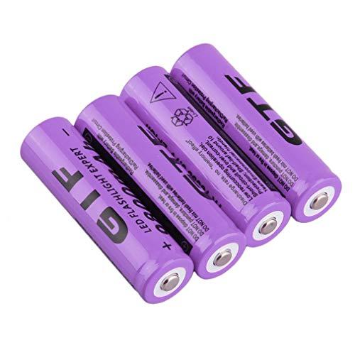 18650 Piles Rechargeables, Haute Capacité 9800 mAh 3.7 V li-ION Batterie, pour Éclairage Solaire, Guirlandes Lumineuses, Télécommandes, Souris, Lampes de Poche (Lot de 4)