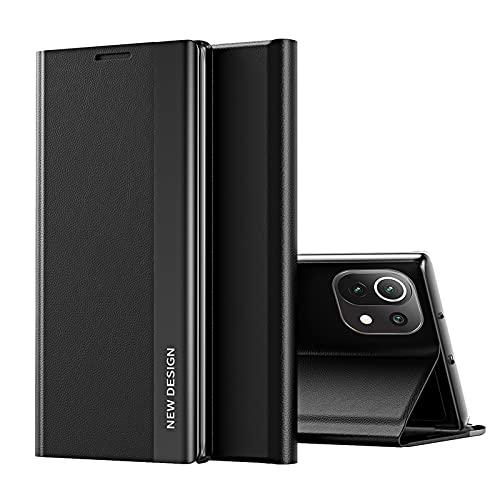 TOPOFU Funda para Xiaomi Redmi 9T, Carcasa Xiaomi Redmi 9T con Cierre Magnético, Flip Cover Case con Suporte, Étui Piel Protección-Negro