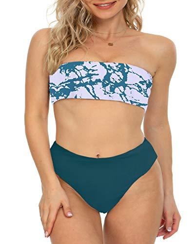 I2CRAZY - Traje de baño de dos piezas para mujer, parte superior sin tirantes con parte inferior de corte alto - Azul - Medium