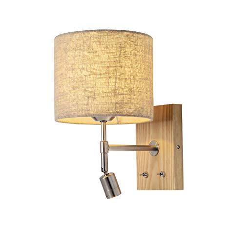 Innen LED Wandleuchte aus Holz und Textil, Wandlicht mit Schalter, Wandlampe mit 3W LED Leselampe Warmweiß, Nachttischlampe Bettlampe wand, Nachtlicht Stoff Schirm Leselicht Wandspot, Modern Lampe (A)