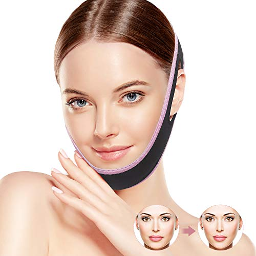 QUECC Face Slimming Strap, Pain-Free Face Shaper Band, V-Line Face Lifting Band, Double Chin Reducer Facial Weight Loss Belt, Eliminates Sagging Skin Lifting Firming Anti Aging Face Chin Slimmer Strap (Pink2)
