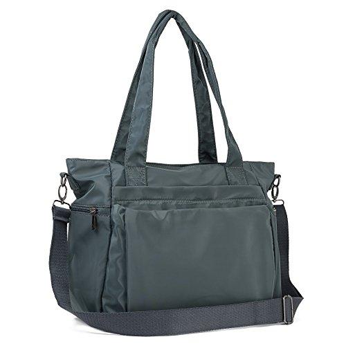ZOOEASS Women Fashion Large Tote Shoulder Handbag Waterproof Multi-function Nylon Travel Messenger Bags (Grey)