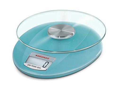 Soehnle Roma Sky Blue digitale Küchenwaage, elektrische Waage mit einer Tragkraft bis 5 kg, Haushaltswaage mit abnehmbarem Wiegeteller, Glas-Küchenwaage für grammgenaues Wiegen, mit große LCD-Anzeige