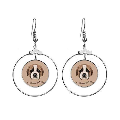 Brincos de cachorro de São Bernardo, com argola pendurada, joia circular