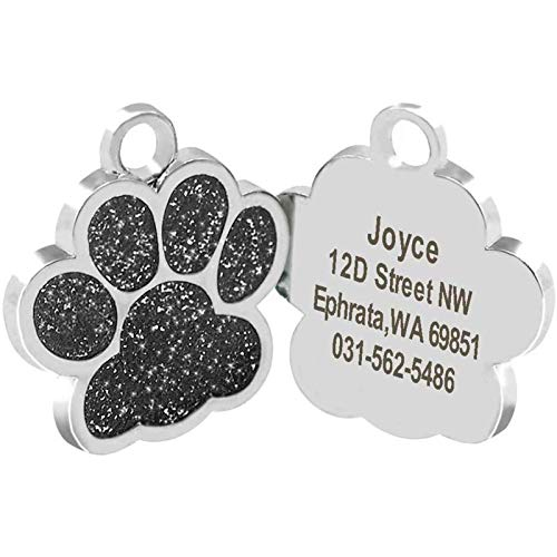 Cerolopy Custom Pet ID Tag Glitter Paw Personalized Laser Engraving, Personalized Dog Tags and Cat Tags, Add Your Own Text for Your Dog or cat(Black)