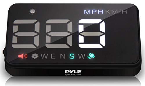 Pyle Universal 3.5'' Car HUD - Head-Up Display Multi-Color Windshield Screen Projector Vehicle Speed & GPS Navigation Compass, Plug & Play - (PHUD12)