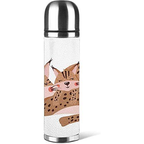 Linda Familia Lynx aislada en Tazas de café con Leche con Tapa Botella de Agua Taza de Cuero Impreso 3D Antideslizante, Taza de termos