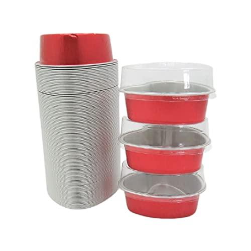 100 ml 100 piezas de papel de aluminio de San Valentín Cake Pan en forma de corazón Cupcake Cup con tapas desechables Mini Cupcake Cup para bodas Postre tazas con tapas