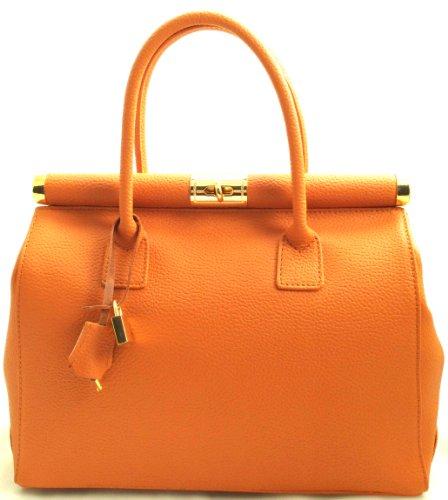 Chicca Tutto Moda CTM Bolso naranja baùl de mujer elegante con asas y bandolera. Piel Verdadera. 100% Fabricado en Italia.