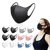 12 pezzi maschera bocca leggera unisex per adulti moda viso coprente, riutilizzabile, antipolvere, maschera lavabile 5 colori misti