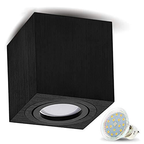 Milano - lampada da soffitto GU10, 230 V, con LED da 4 W (300lm), bianco caldo, lampadina alogena, in alluminio, Alluminio, Quadrat/Schwarz-Alu, GU10 4.00 W 230.00 voltsV