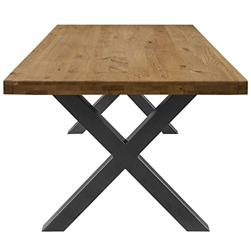 COMIFORT Mesa de Comedor - Mueble para Salon Oficina Despacho Robusto y Moderno de Roble Macizo Color Ahumado, Patas de Acero X-Forma Grafito (140x90 cm)