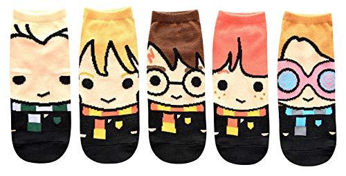 Harry Potter Cute Chibi Character Art Juniors/Womens 5 Pack Ankle Socks
