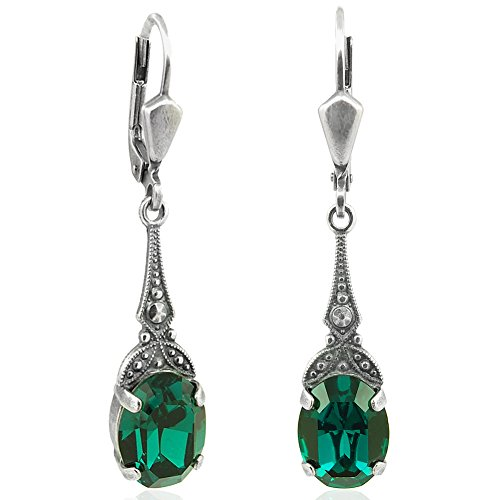 Jugendstil Ohrringe mit Kristallen von Swarovski® Silber Grün NOBEL SCHMUCK