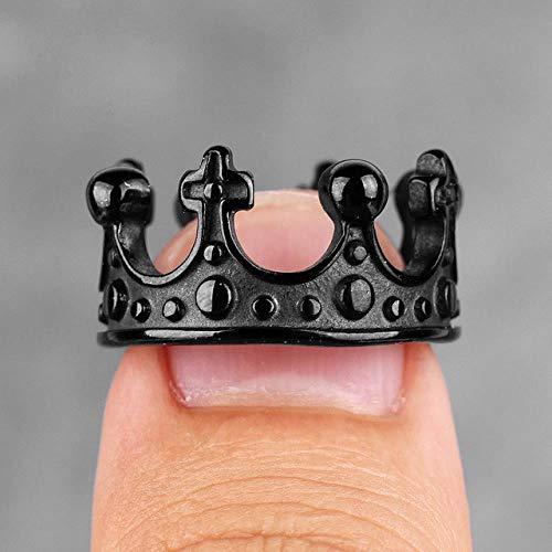 LMKAZQ Stainless Steel Royal Crown Black Gold Silver Rhinestone Men's Ring Titanium Jewelry Gift, 10,R084C-Black