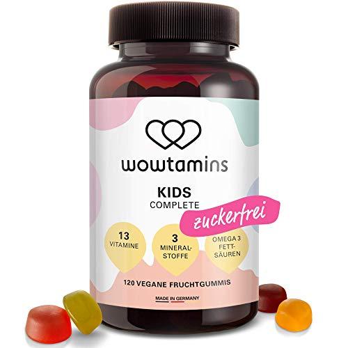 wowtamins KIDS Complete leckere Multivitamin-Fruchtgummis für Kinder - mit 13 Vitaminen, Omega 3 Fettsäuren & Mineralstoffen - ab 2 Jahren (zuckerfrei, 1er Pack)