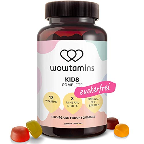 wowtamins KIDS Complete leckere Multivitamin-Fruchtgummis für Kinder - mit 13 Vitaminen, Omega 3 Fettsäuren &...