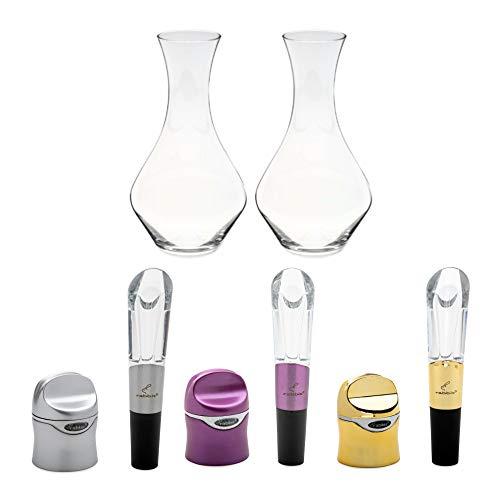 Riedel Cabernet Decanter Set di 2, con 3 sigillanti per vino e set di aeratori (5 pezzi)