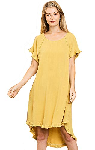 Umgee Lovable High Low! Linen and Cotton Frayed Hem Dress (Goldenrod, Small)