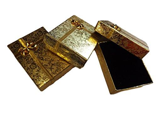 5 x mittelgroße Geschenk-Schatullen / Boxen für Schmuck, Ringe, Ketten, Armbänder, mit Schleife, innen gepolstert, Design