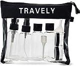 Travely Premium Kulturbeutel - 1L große Kosmetiktasche mit Reiseflaschen Set - ideal als...