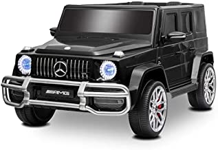 Uenjoy 12V 2 Seats Mercedes Benz G63 Kids Ride On Car Electric Cars Motorized Vehicles with Remote Control, Music, Horn, Spring Suspension, Safety Lock, LED, AUX, USB, FM, Bluetooth, Black