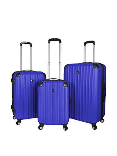 Travelers Club Chicago Hardside Expandable Spinner Luggage, Blue, 3-Piece Set (20/24/28)