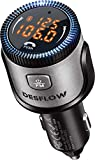 DESFLOW Bluetooth 5.0 FM Transmitter&Charger for Car,Easy to Setup Smart Adapter Supporting Stereo Hi-Fi Quality Music, Hands-Free Calling, QC 3.0& PD Quick Charging,Compatible for Most of Smartphones