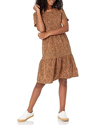 Amazon Essentials Short-Sleeve Crewneck Tiered Dress Kleid, Dunkles Camel/Schwarz-Ikat Animal, XL